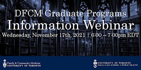 DFCM Graduate Programs - Admissions Information Webinar (2) tickets