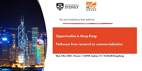 Opportunities in Hong Kong: pathways from research to commercialisation tickets