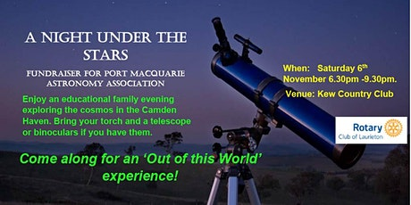 A NIGHT UNDER THE STARS Fundraiser for Port Macquarie Astronomy Association tickets