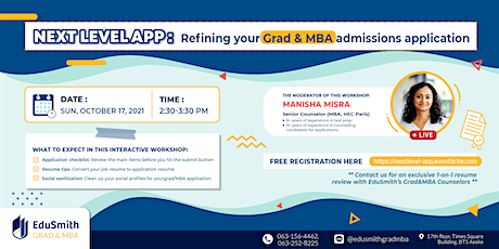 Next Level App: Refining your Grad & MBA admissions application tickets