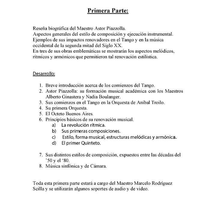 """Imagen de Master Class """"El Ángel vive"""" en homenaje al maestro Astor Piazzolla"""
