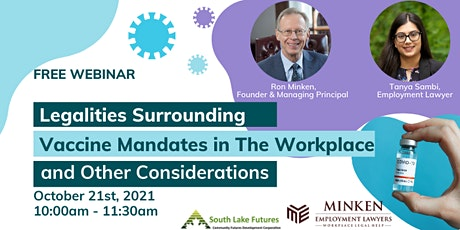 Legalities of Vaccine Mandates in The Workplace & Other Considerations tickets