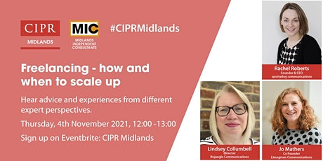 CIPR Midlands OpenMIC - Freelancing, How and When to Scale Up tickets