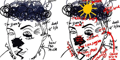 Zoom journaling workshop with artist  Amy Dignam | Layered Self-Portrait tickets