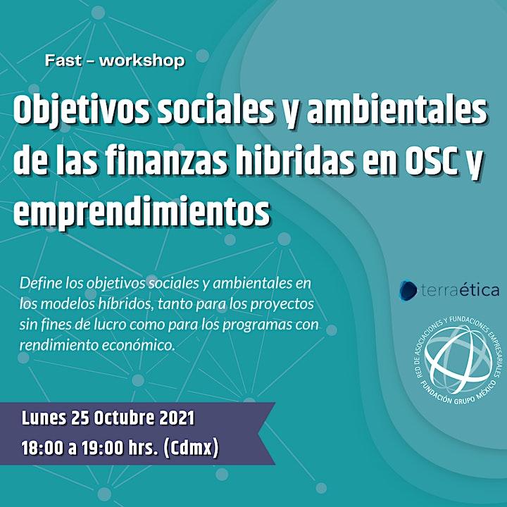 Imagen de Fast-Workshop: Finanzas Hibridas. Objetivos sociales y ambientales en OSC