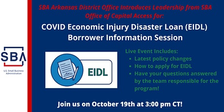 COVID EIDL Borrower Information Session- Tuesday, October 19 at 3 pm CT tickets