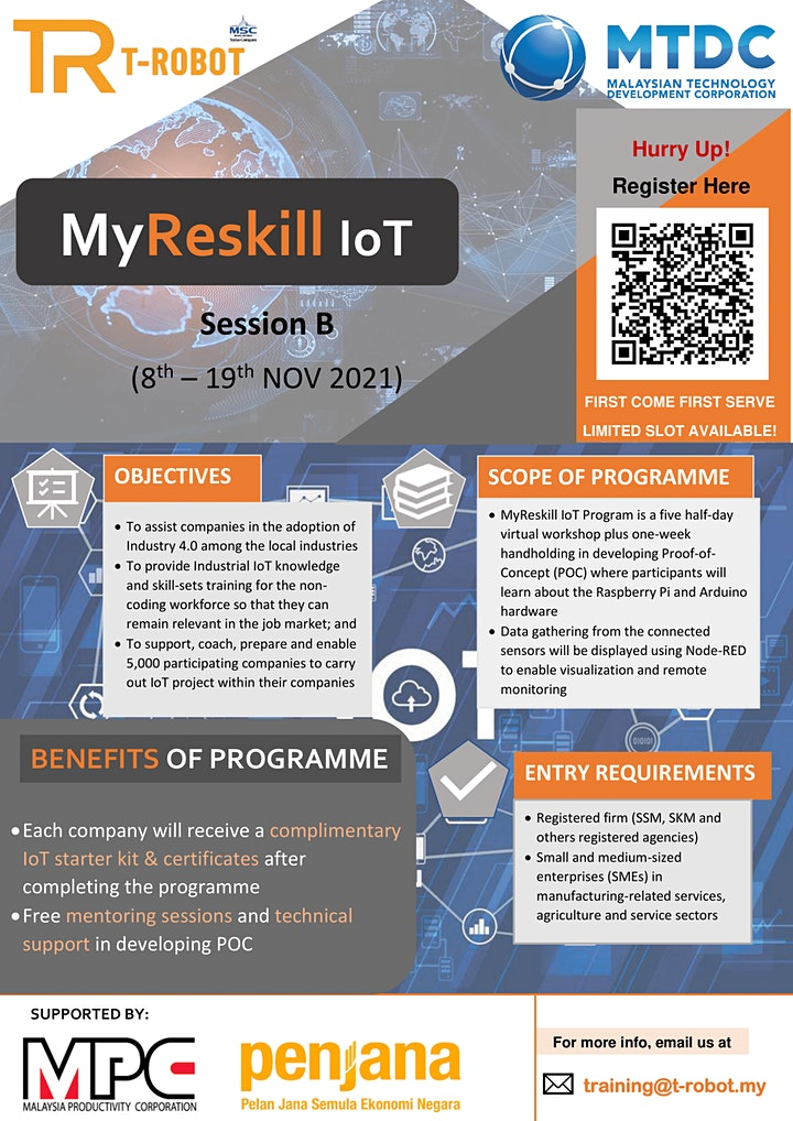Registration MyReskill IoT_TROBOT_MTDC_SESSION B (8/11/2021 -  19/11/2021) image