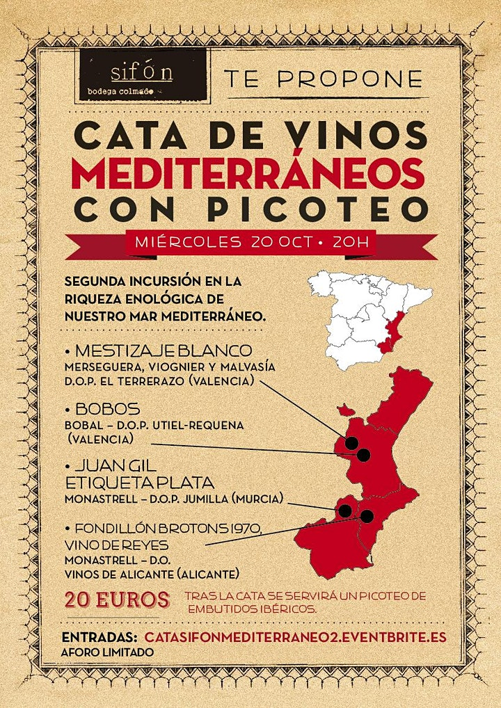 Imagen de Cata de Vinos Mediterráneos con picoteo en Sifón - Vol.2