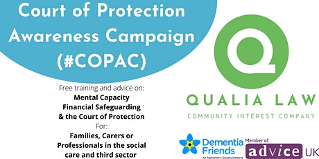 Free training: Mental Capacity, Financial Safeguarding& Court of Protection tickets