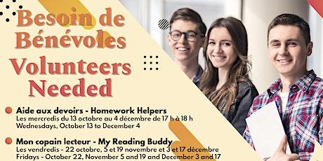 Bénévoles demandés pour Mon copain lecteur/Volunteer Needed  Reading Buddy billets