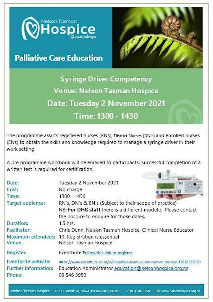 Syringe Driver Competency  - Venue  Nelson Tasman Hospice image