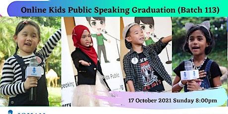 Online Kids Public Speaking Graduation - Johan Speaking Academy (Batch 113) billets