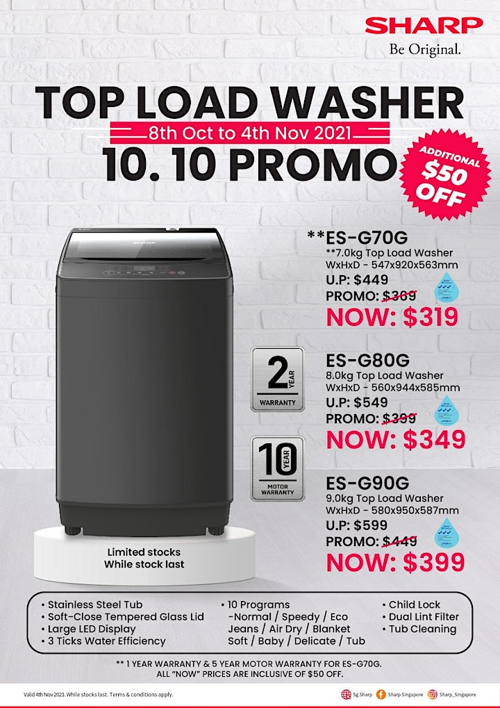 [Promotion] SHARP Is Having A 10.10 Promo On Their Top Load Washers! image