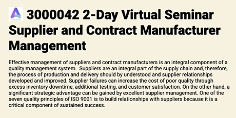 3000042 2-Day Virtual Seminar Supplier and Contract Manufacturer Management tickets
