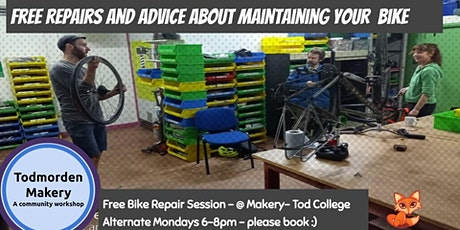 25.10.21 Bike Repair Monday Night 6-8pm Bookable Repair Session tickets