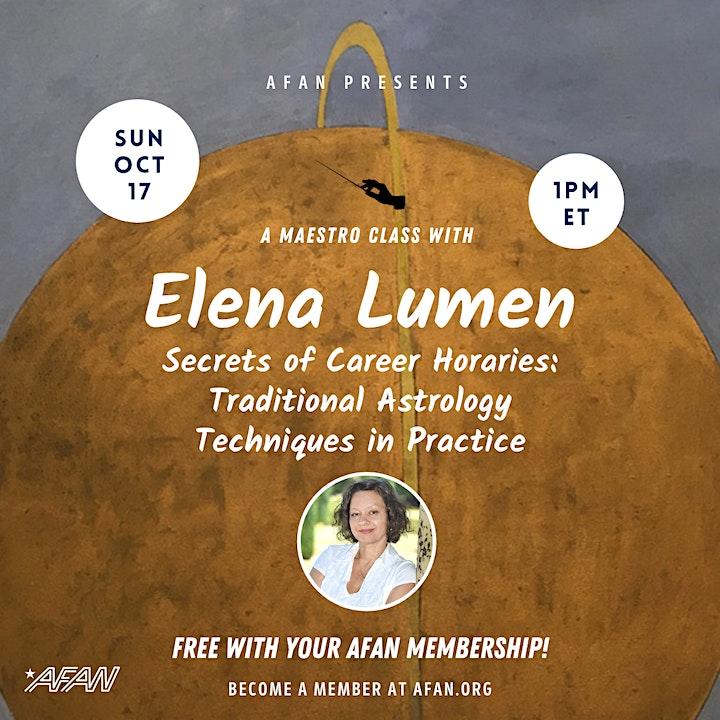 AFAN Presents Elena Lumen: Secrets of Career Horaries image