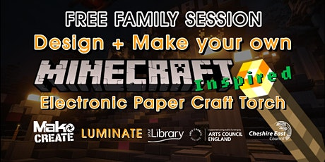 Minecraft 'Inspired' Electronic Paper Craft Torches - Family Activity tickets