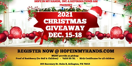 2021 Hope In My Hands Community Christmas Giveaway tickets
