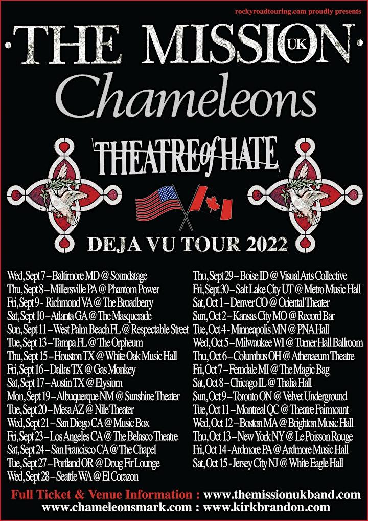 The Mission (UK) ~ Chameleons ~ Theatre of Hate ~ Deja Vu Tour 2022 image