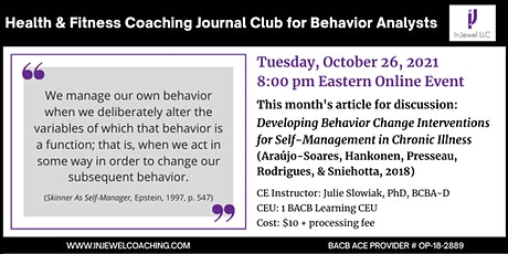 Health & Fitness Coaching Journal Club for Behavior Analysts (October 2021) tickets