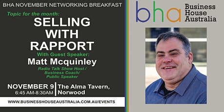 November BHA Event: SELLING WITH RAPPORT' with Matt McQuinley tickets