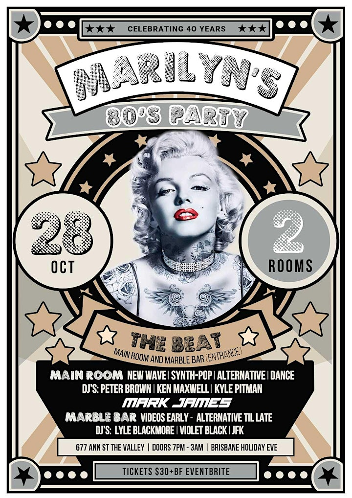 Marilyn's 80's Party -  28 Oct - The Beat Tickets at Door from 8 image