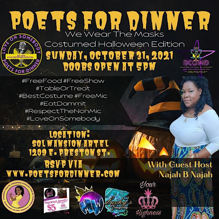 Poets For Dinner October: We Wear The Masks/ Halloween Edition image