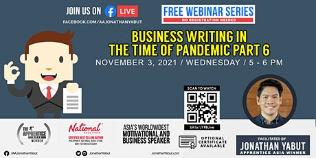 Business Writing in The Time of Pandemic, Part 6 with Jonathan Yabut tickets