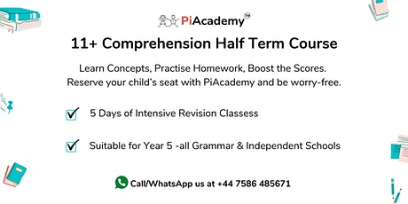 11+ Comprehension Half Term Course tickets