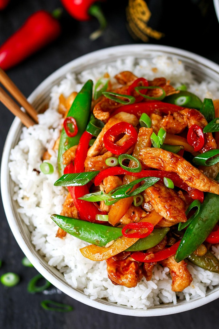 Sweet and sticky chicken stir-fry and nutella/chocolate mousse image
