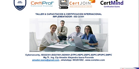Sesion Intensiva: ISO 22301 - Implementador boletos
