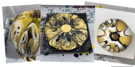 Paint N' Sip Acrylic Pouring: Black & Gold Spooky Diva Theme with Pumpkins! tickets