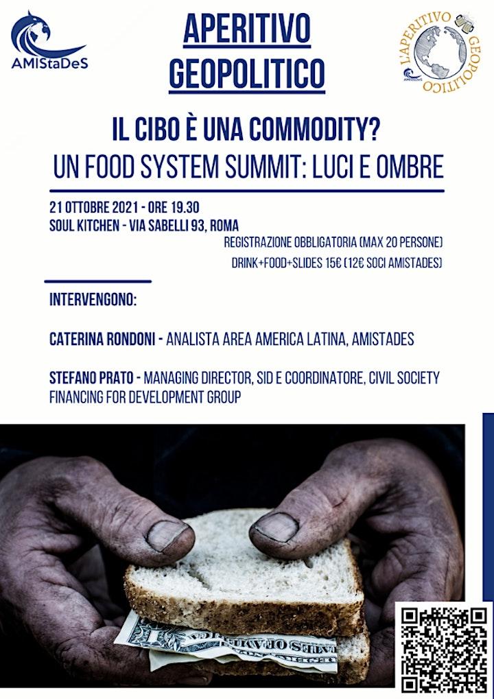 """Immagine """"IL CIBO È UNA COMMODITY? UN Food System Summit: luci e ombre"""""""