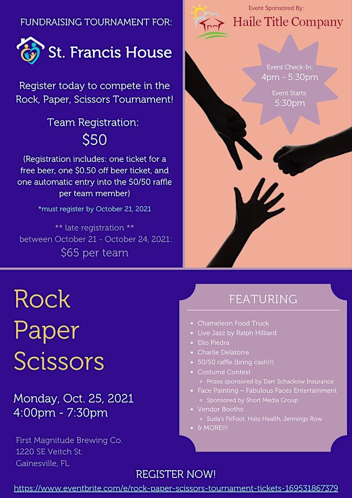 Rock Paper Scissors Tournament Benefiting St. Francis House image