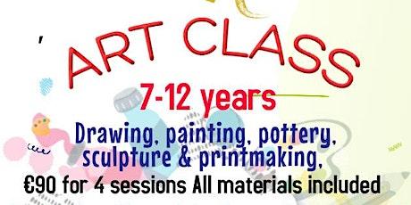 Kids 7-12 yrs.  Art Class mixed media Saturdays Nov 6,13,20 & 27th 12pm-2pm tickets