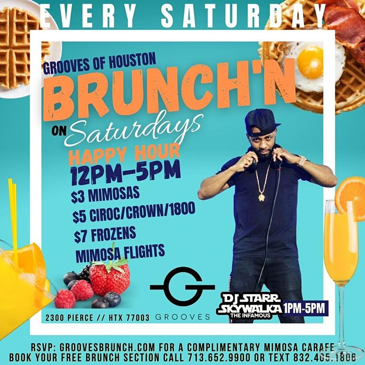Grooves' Saturday Brunch + Day Party | Brunch 11am-5pm | Happy Hr 12pm-5pm image