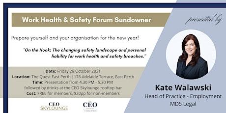 Work Health & Safety Forum & Sundowner tickets
