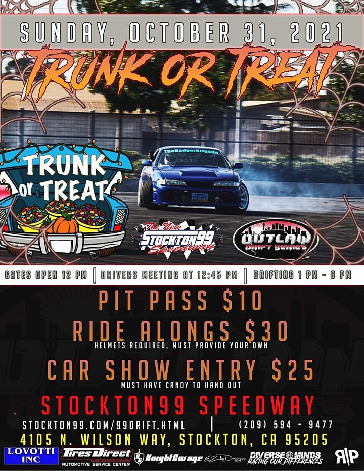 Trunk or Treat Car Show and Drifting at the Stockton 99 Speedway October 31 image