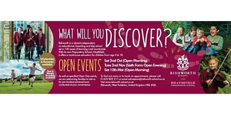 Rishworth School Sixth Form Open Eve tickets
