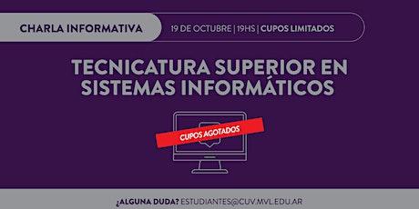 2º Charla informativa online Tecnicatura Superior en Sistemas Informáticos entradas