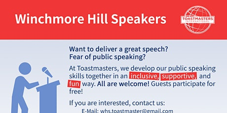 Public speaking club in Winchmore Hill - Toastmasters tickets