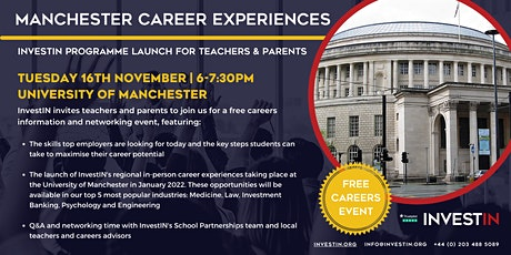 InvestIN: Launch of Manchester Career Experiences tickets