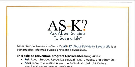 AS+K? Ask  About Suicide To Save A Life tickets