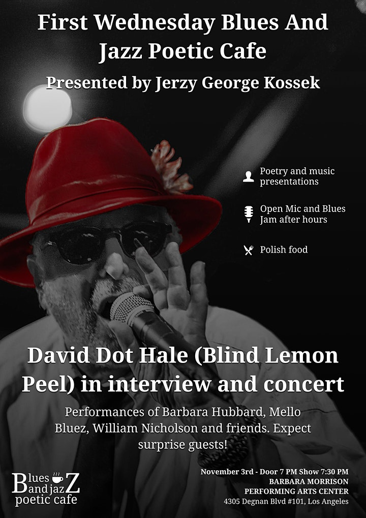 First Wednesday Blues and Jazz Poetic Cafe Show - Featuring David Dot Hale image