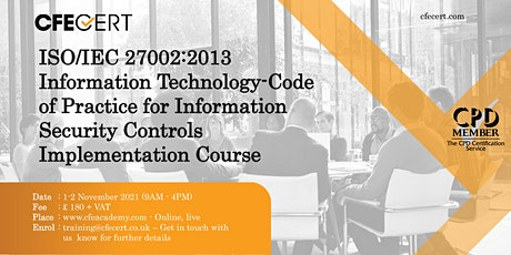 ISO/IEC 27002:2013 Information Security Controls Implementation  Course tickets