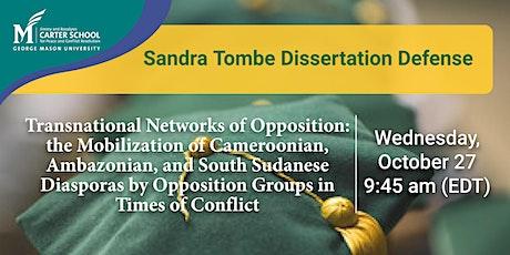 Sandra Tombe Dissertation tickets