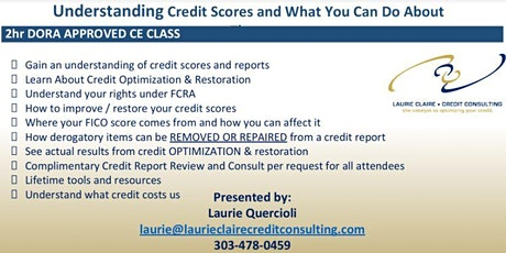 Understanding Credit Scores & What You Can Do About Them, 2 hour CE credits tickets