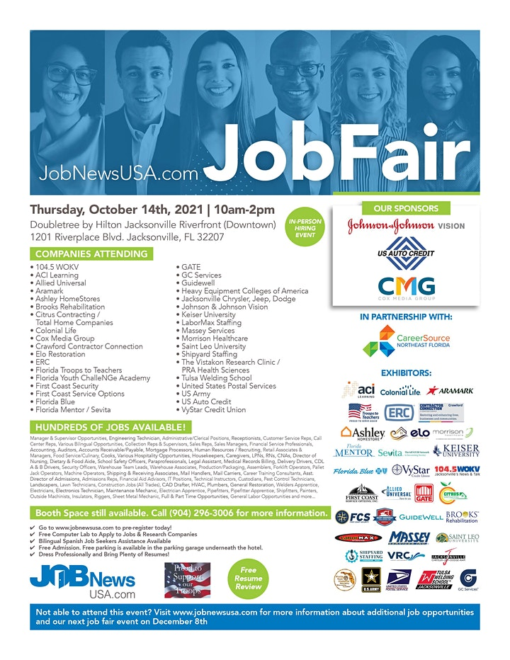 Jacksonville Job Fair - 30+ Companies Hiring for OVER 1,000 JOBS image