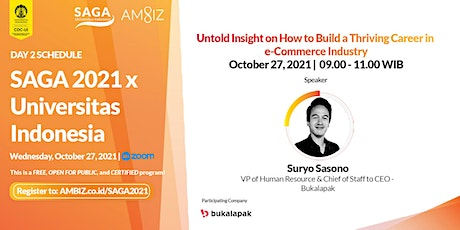 [SAGA 2021] Untold Insight on How to Build a Thriving Career in  e-Commerce tickets