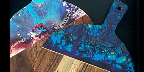 Paint Pouring  Classes - Make your own wooden serving Board tickets